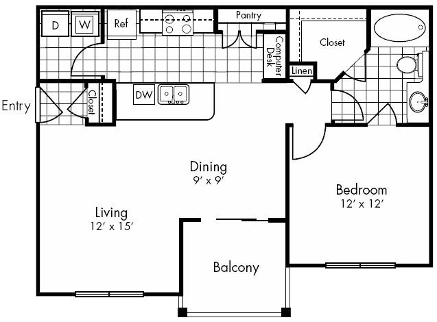 800 sq. ft. SAN FELIPE floor plan