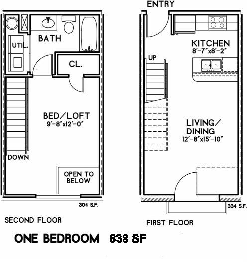 638 sq. ft. Edison I floor plan