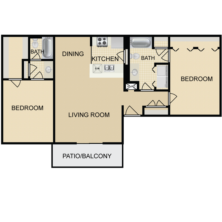 1,030 sq. ft. B2 floor plan