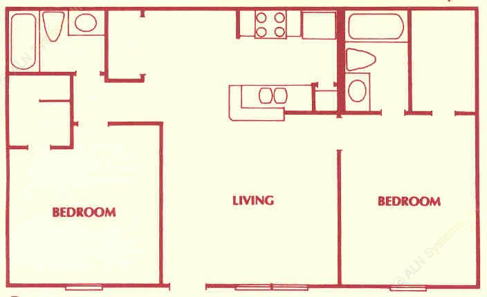 878 sq. ft. C floor plan