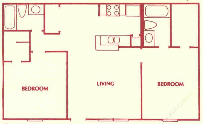 878 sq. ft. C floor plan