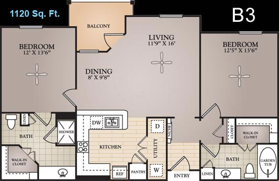 1,120 sq. ft. Van Gogh floor plan