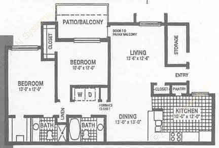 1,112 sq. ft. B2 floor plan
