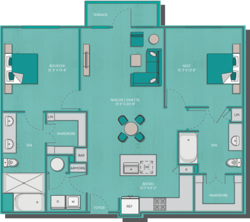 1,229 sq. ft. Agonda floor plan