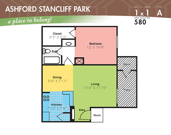 580 sq. ft. A floor plan