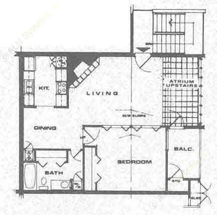 730 sq. ft. A1 floor plan