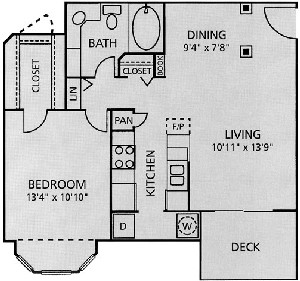 709 sq. ft. A2-Ashford floor plan