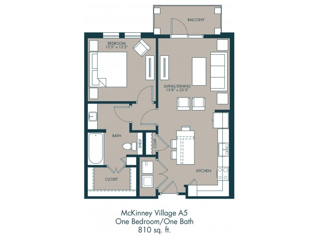 810 sq. ft. A5 floor plan