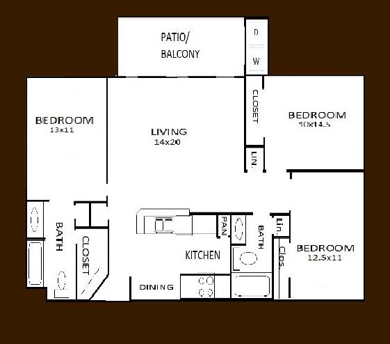 1,193 sq. ft. C1 floor plan