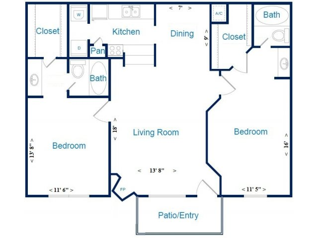 1,000 sq. ft. F/G floor plan