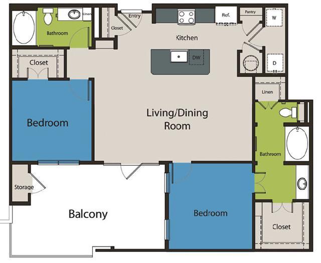 1,200 sq. ft. B4.2 floor plan