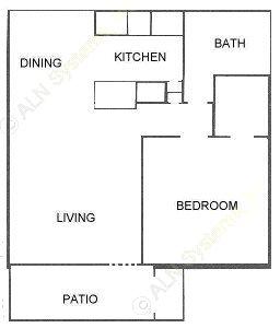 634 sq. ft. A floor plan