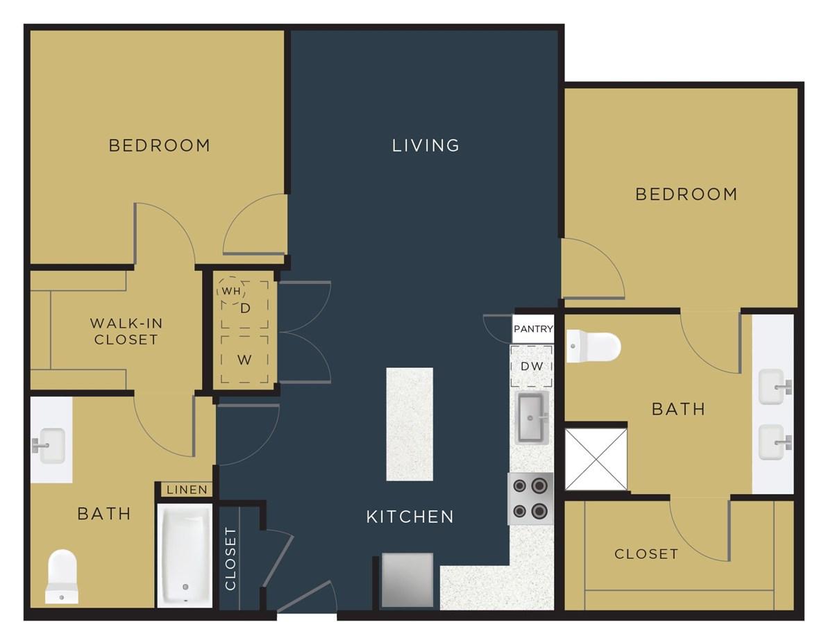 1,064 sq. ft. B1-HC floor plan