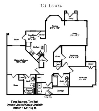 1,447 sq. ft. C1 floor plan