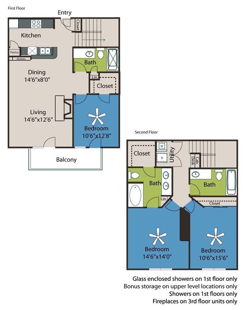 1,479 sq. ft. C2-TH floor plan