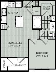 584 sq. ft. A1 floor plan
