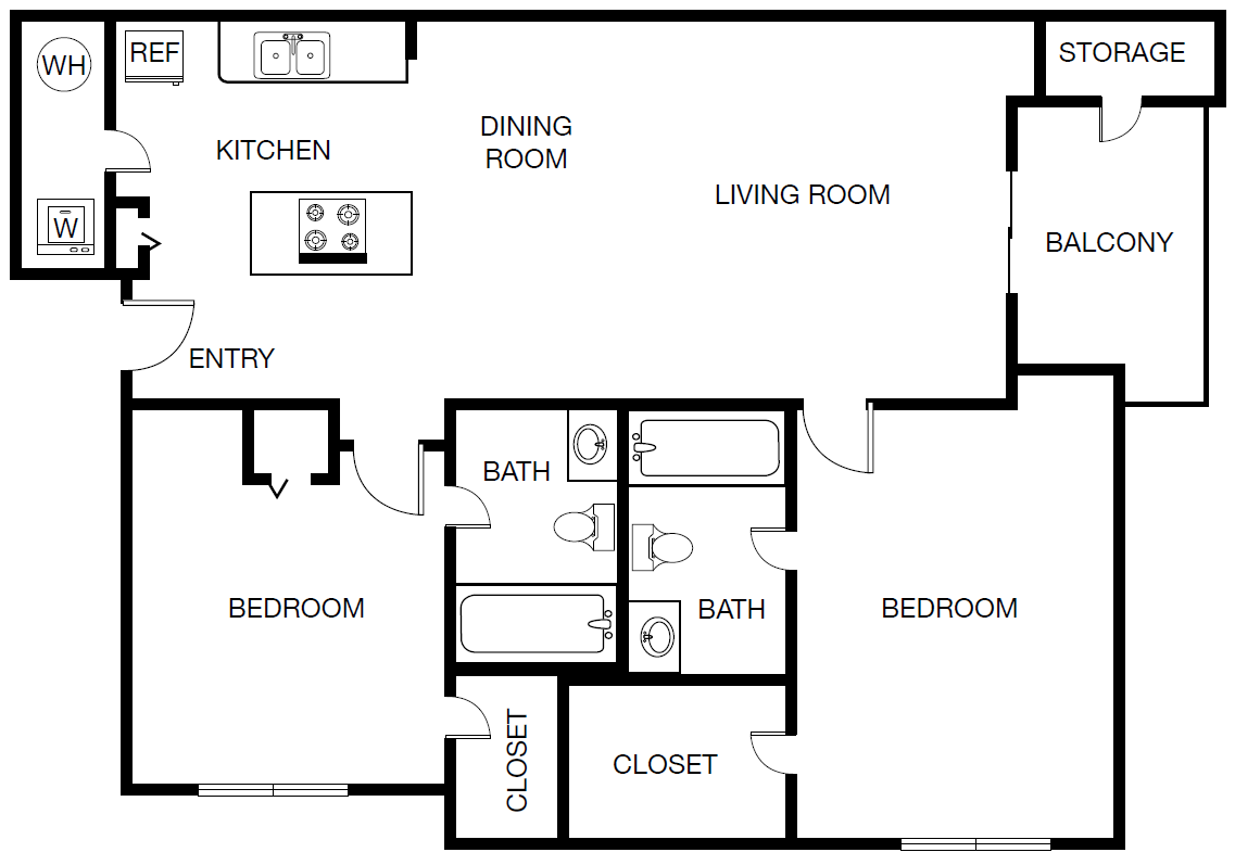 1,003 sq. ft. Florence floor plan