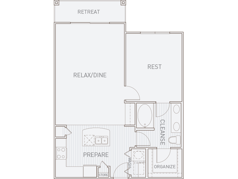 891 sq. ft. A3-T floor plan