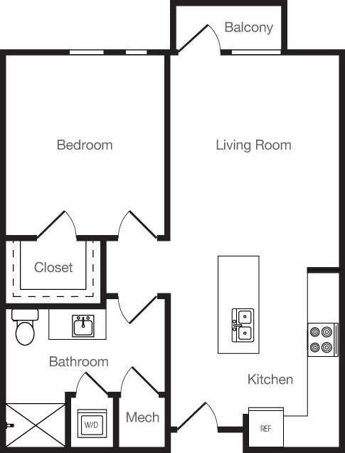 673 sq. ft. 1Q floor plan