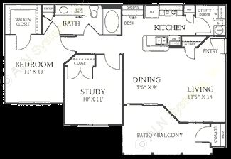 792 sq. ft. A2 floor plan