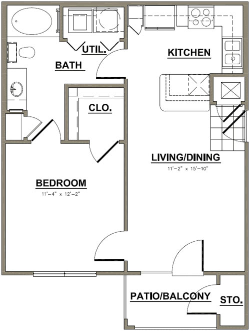 611 sq. ft. Water Oak floor plan