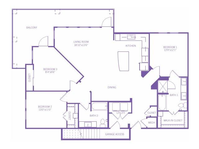 1,638 sq. ft. C1BG floor plan