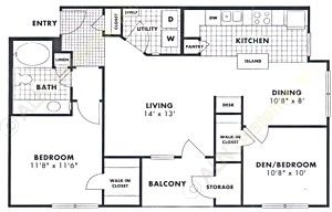 955 sq. ft. Maple floor plan