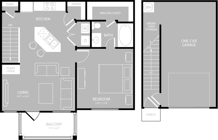 750 sq. ft. Allegro floor plan