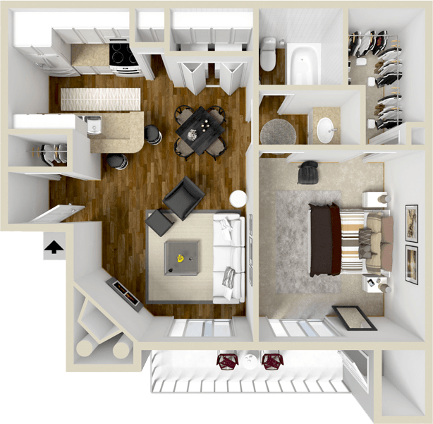 602 sq. ft. A1 floor plan