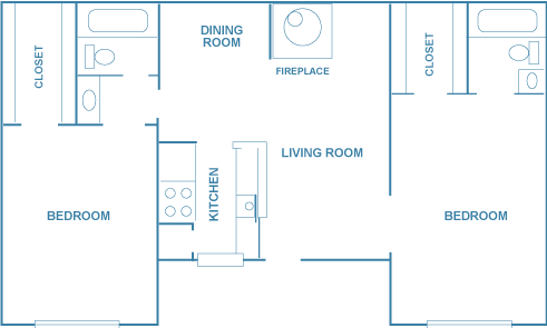 1,050 sq. ft. A2D floor plan