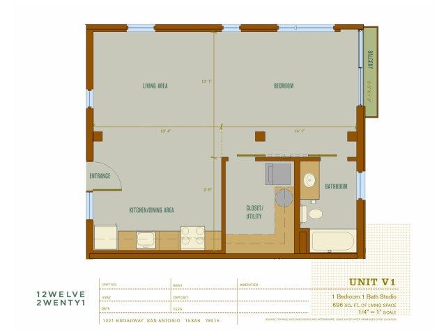 696 sq. ft. V1 floor plan
