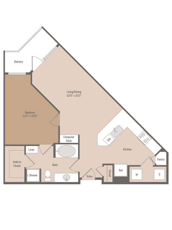 808 sq. ft. A3.2 floor plan