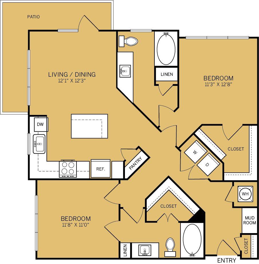 1,083 sq. ft. B1 floor plan