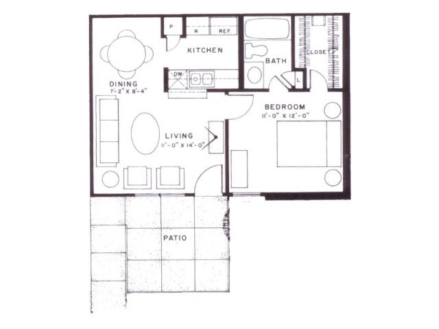 550 sq. ft. A5 floor plan