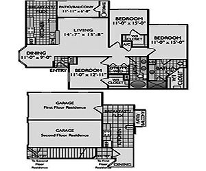 1,163 sq. ft. C4G II floor plan