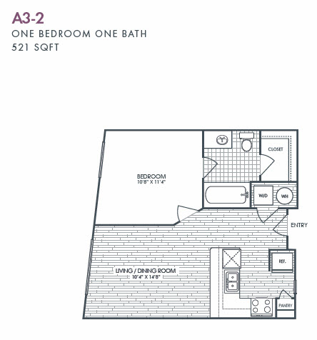 521 sq. ft. A3-2 floor plan