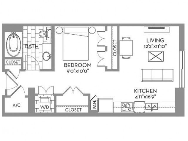 648 sq. ft. Douglas(E.1) floor plan