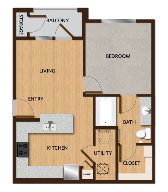 634 sq. ft. A5 floor plan