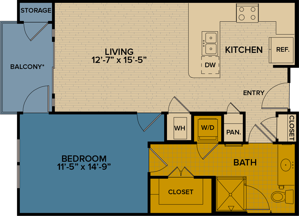 756 sq. ft. A3 floor plan