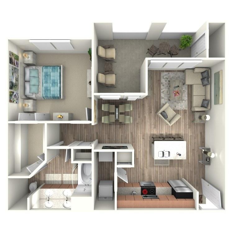 824 sq. ft. A5 floor plan