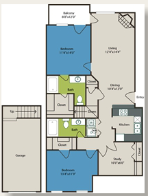 1,181 sq. ft. 2c w/Gar floor plan