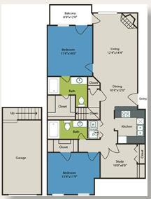 1,181 sq. ft. Contesa floor plan