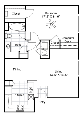 829 sq. ft. A2 floor plan