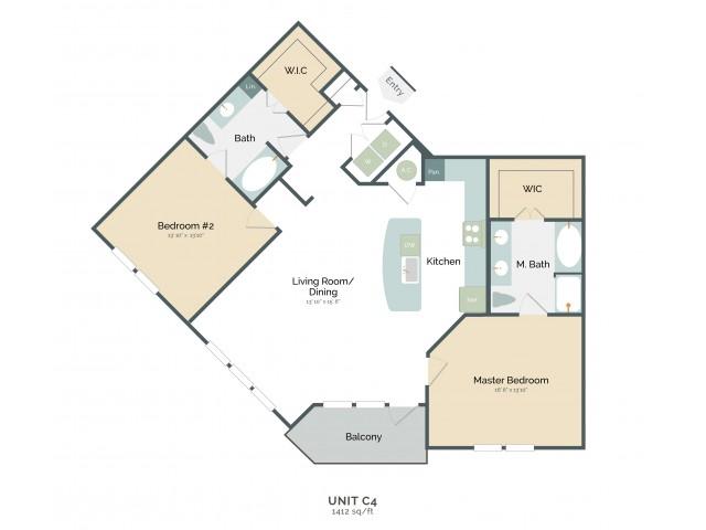 1,412 sq. ft. C4 floor plan