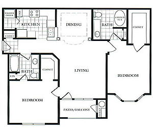1,060 sq. ft. E floor plan