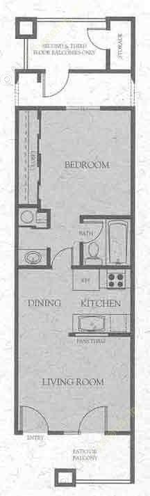 456 sq. ft. B floor plan