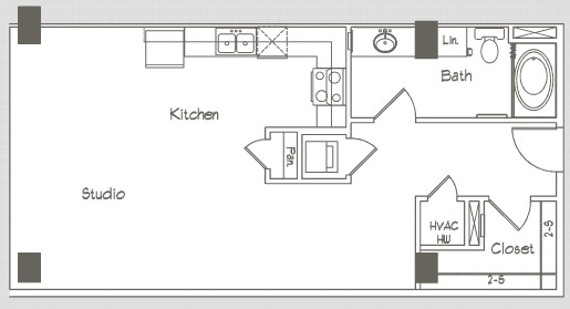 663 sq. ft. S2 floor plan