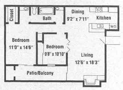 849 sq. ft. B1 floor plan