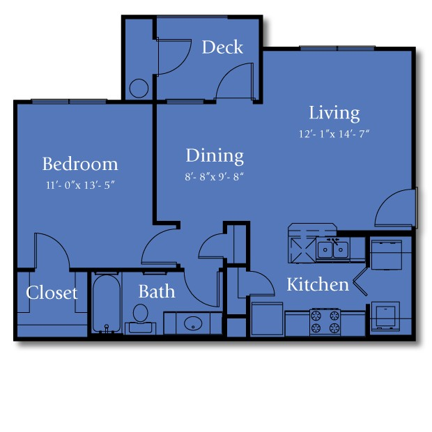 708 sq. ft. 60% floor plan