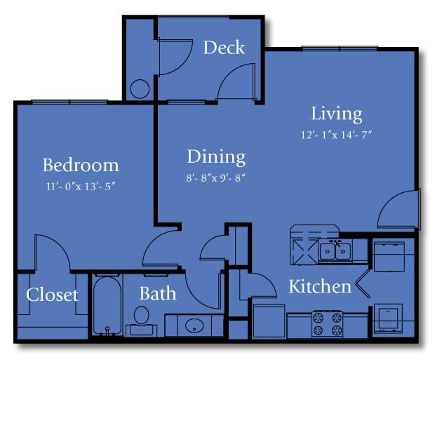708 sq. ft. 50% floor plan